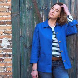 Veste de travail femme bleu...